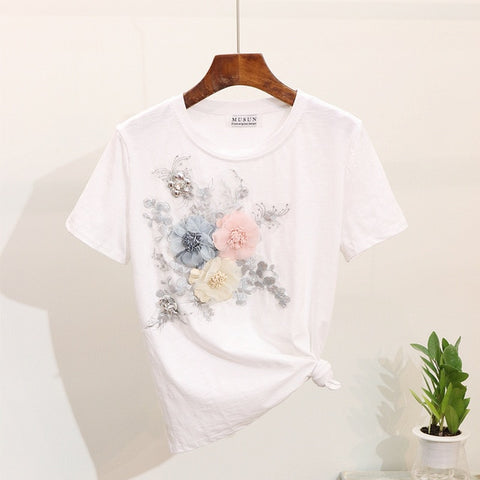 Women Summer Casual Suits Embroidery 3D Flowers Print T Shirts + Jeans 2 Piece Sets