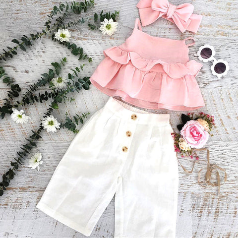 Hot Sells 3PCS Toddler Kids Girl Ruffle Pink Bow Solid Sling Tops Pants Leggings Outfit 1-6Y