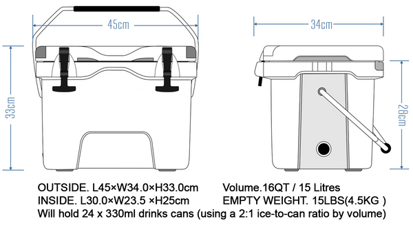 ICED COOLERS 15 Litre Picnic Cool Box Size Diagram