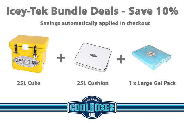 Icey-Tek 25 Litre Cube Cool Box Bundle Deal