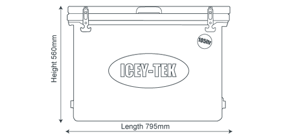 Icey-Tek 105 Litre Cube Cool Box Size Guide Dimensions