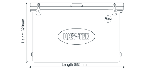 Icey-Tek 185 Litre Cube Cool Box Size Guide Dimensions