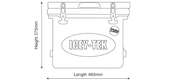 Icey-Tek 25 Litre Cube Cool Box Size Guide Dimensions