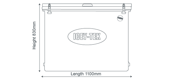 Icey-Tek 450 Litre Cube Cool Box Size Guide Dimensions