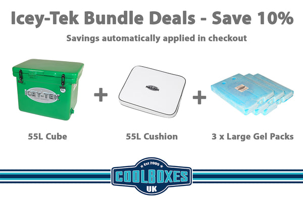 Icey-Tek 55 Litre Cube Cool Box Bundle Deal