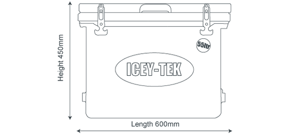 Icey-Tek 55 Litre Cube Cool Box Size Diagram Dimensions