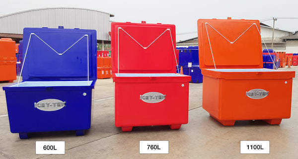 Icey-Tek 600, 760 and 1100 Litre Cube Cool Boxes Size Guide