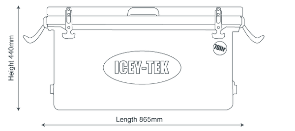 Icey-Tek 70 Litre Long Cool Box Size Guide Dimensions