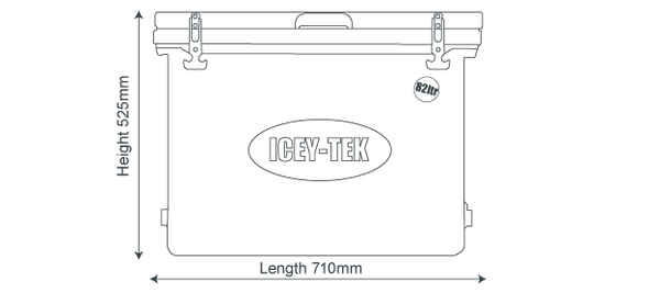 Icey-Tek 82 Litre Cube Cool Box Size Guide Dimensions