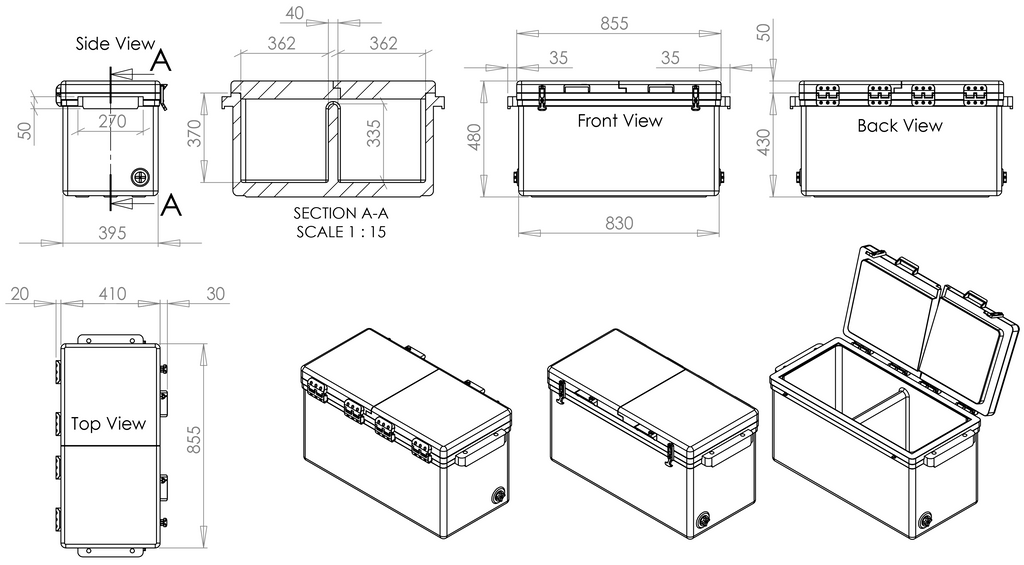 Icey-Tek 90 Litre BBQ Cool Box from Cool Boxes UK Size Diagram