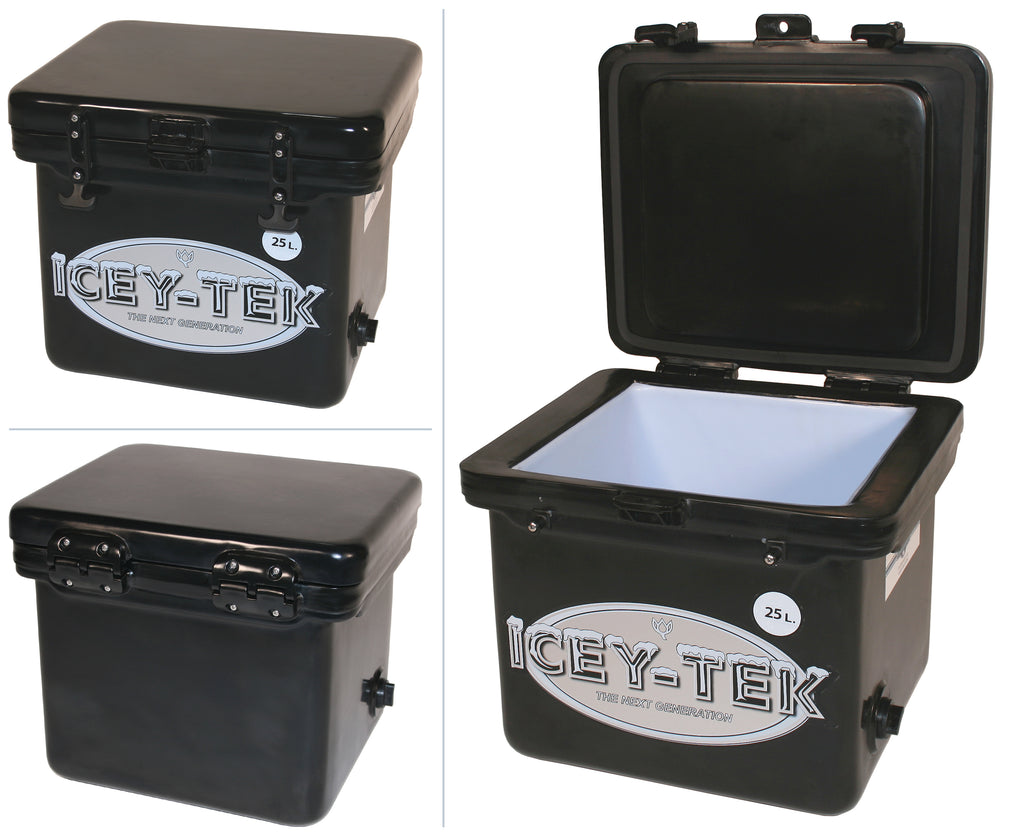 Black Icey-Tek 25 Litre Cube Cool Box