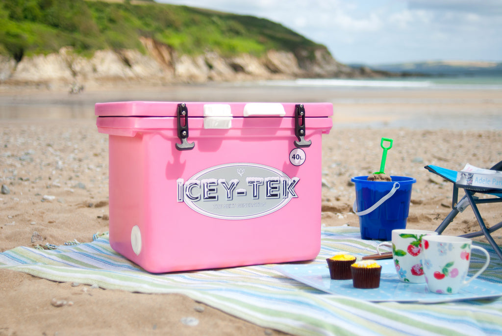 Pink Icey-Tek 40 Litre Cube Cool Box Beach Picnic
