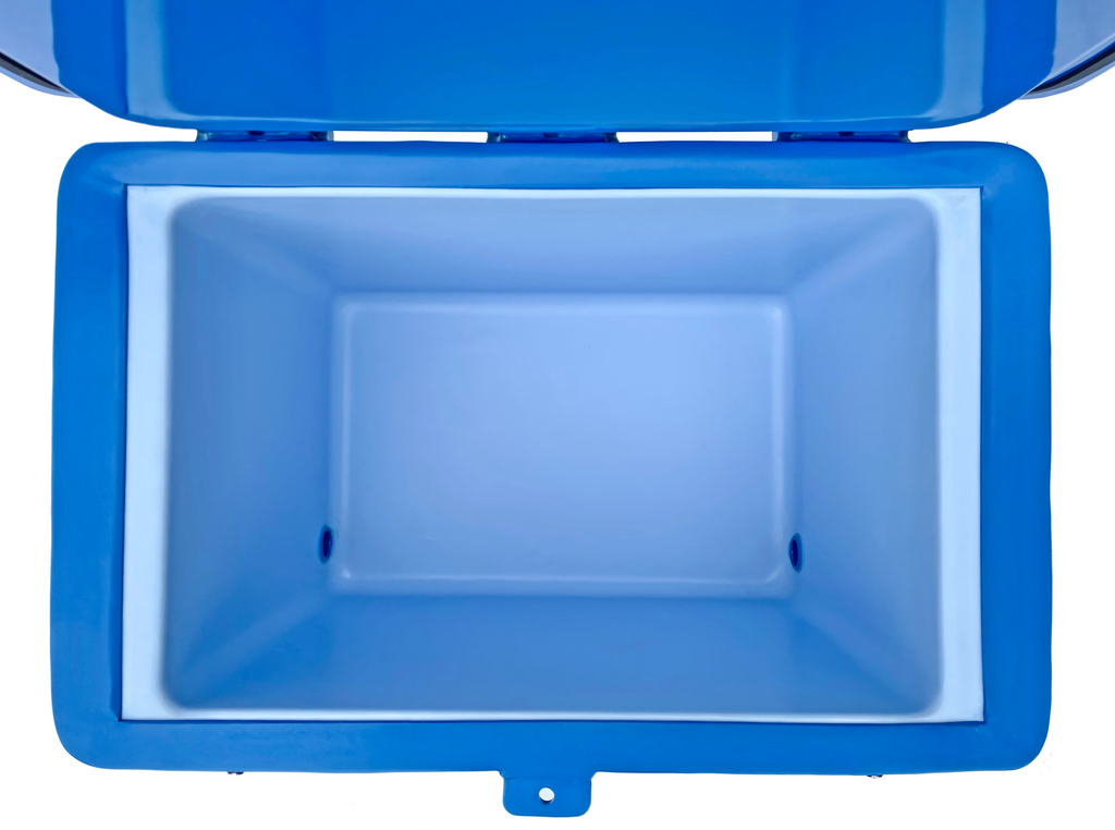 cey-Tek 82 Litre Cube Cool Box in Ocean Blue from Cool Boxes UK inside view