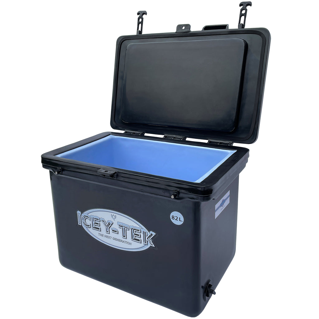Icey-Tek 82 Litre Cube Cool Box open in Black from Cool Boxes UK