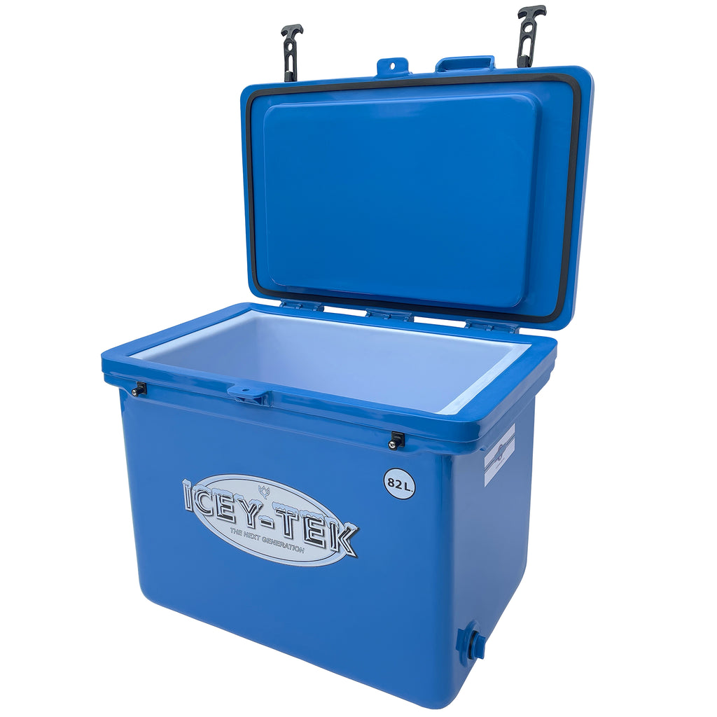 Icey-Tek 82 Litre Cube Cool Box open in Ocean Blue from Cool Boxes UK