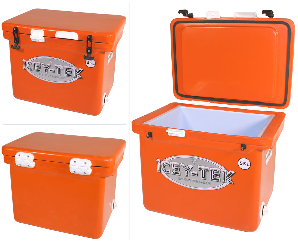 Icey-Tek 55 Litre Cube Cool Box In Orange Tangerine