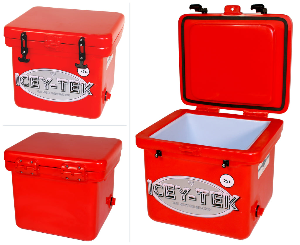 Red Icey-Tek 25 Litre Cube Cool Box