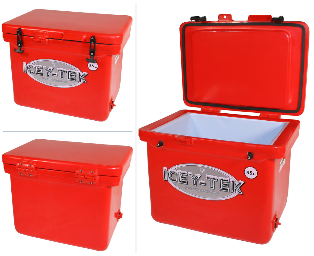 Icey-Tek 55 Litre Cube Cool Box In Red
