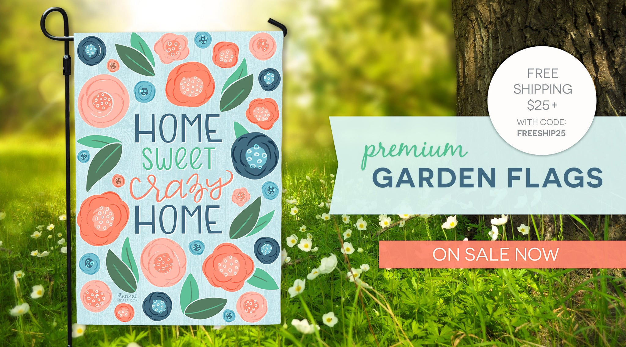 Shop Hennel Paper Co. Premium Double-sided Garden Flags Now On Sale