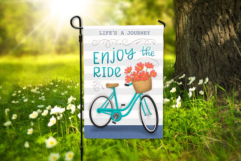 Life's a Journey Enjoy the Ride Bicycle Premium Spring Summer Garden Flag On Sale Hennel Paper Co.