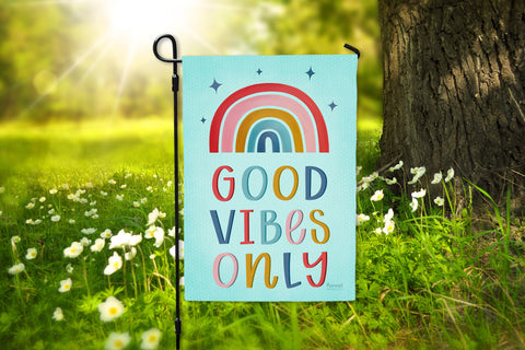 Rainbow Good Vibes Only Premium Garden Flag On Sale Hennel Paper Co.