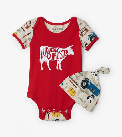 6-12 Months Farm Life Baby Bodysuit With Hat