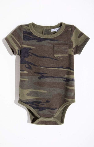 9-12 Months Z Supply Pocket Army Green Camo Onesie