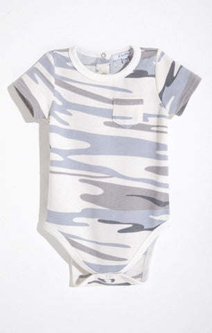 9-12 Months Z Supply Pocket Gray Camo Onesie