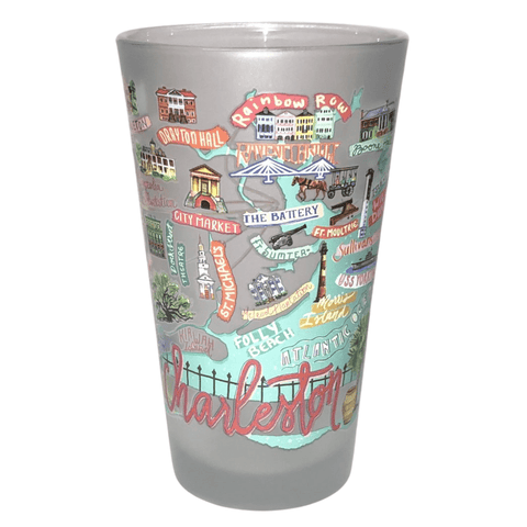 Charleston Map Frosted Pint Glass