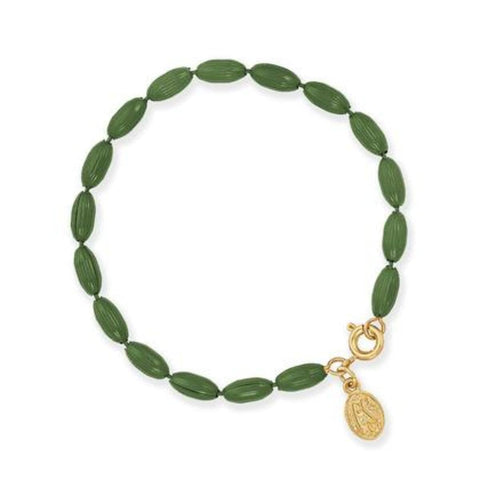 Charleston Rice Bead Bracelet - Olive