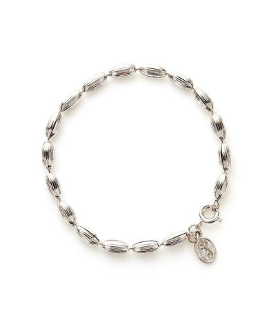 Charleston Rice Bead Bracelet - Shiny Silver