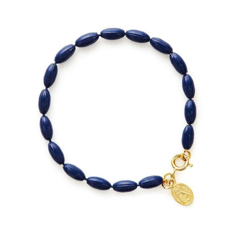Charleston Rice Bead Bracelet - True Navy