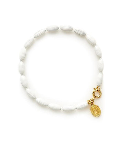 Charleston Rice Bead Bracelet - White