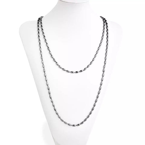 Charleston Rice Bead Necklace - Gunmetal