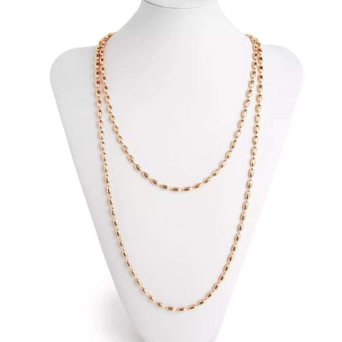 Charleston Rice Bead Necklace - Rose Gold
