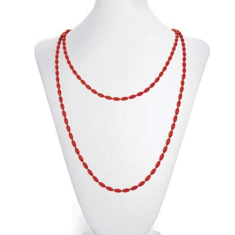 Charleston Rice Bead Necklace - Ruby Red