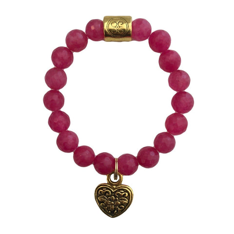 Hot Pink Grace Elliott Heart Bracelet