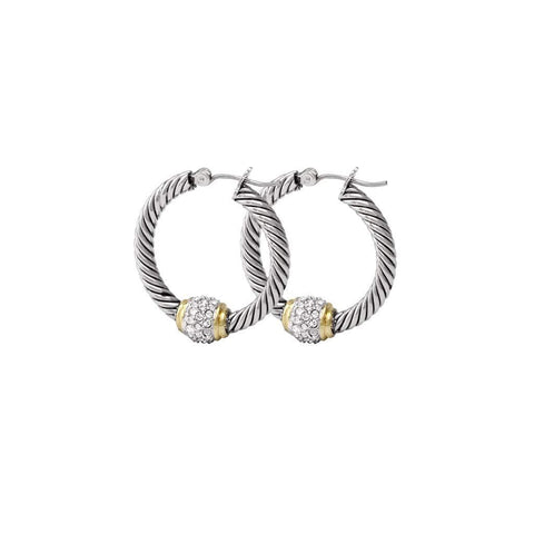 John Medeiros Antiqua Pave Twisted Wire Hoop Earrings