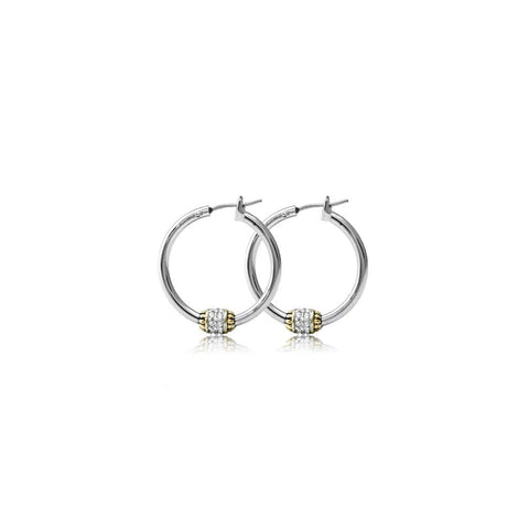 John Medeiros Beaded Pavé Hoop Earrings