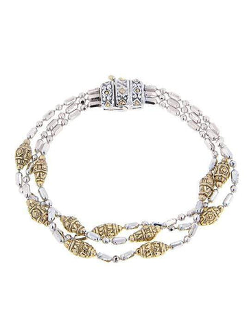 John Medeiros Beaded Two Tone Triple Strand Bracelet