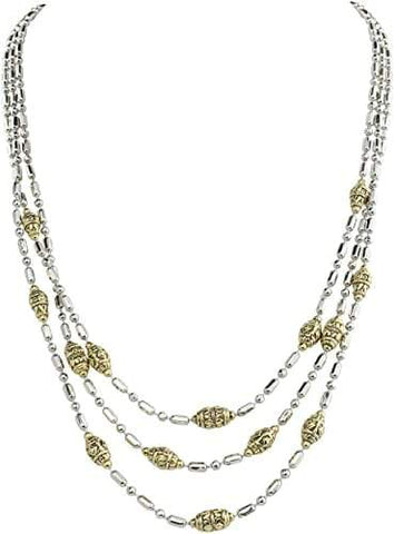 John Medeiros Beaded Two Tone Triple Strand Necklace