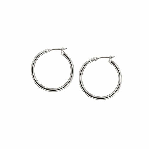 John Medeiros Small Hoop Earrings - Rhodium