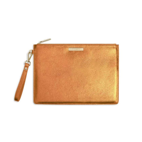 Katie Loxton Metallic Luxe Clutch - Orange
