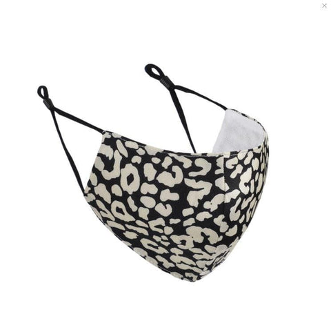 Katydid Adult Face Mask - Black & White Leopard