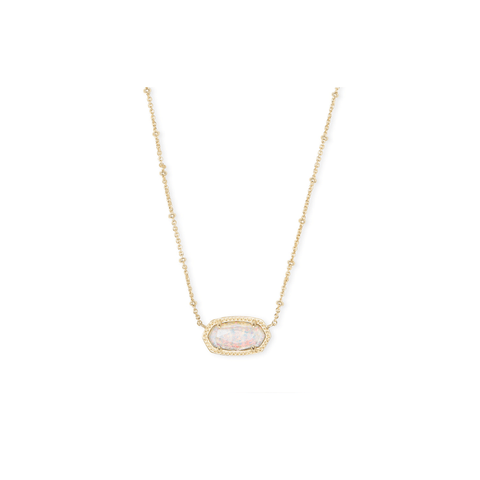 Kendra Scott Elisa Pendant Necklace in White Kyocera Opal Illusion