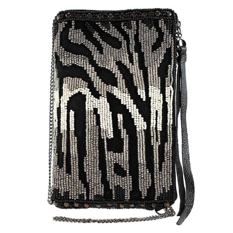 Mary Frances All About The Zebra Beaded Crossbody Phone Bag