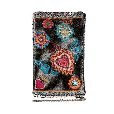 Mary Frances Flaming Heart Beaded Crossbody Phone Bag