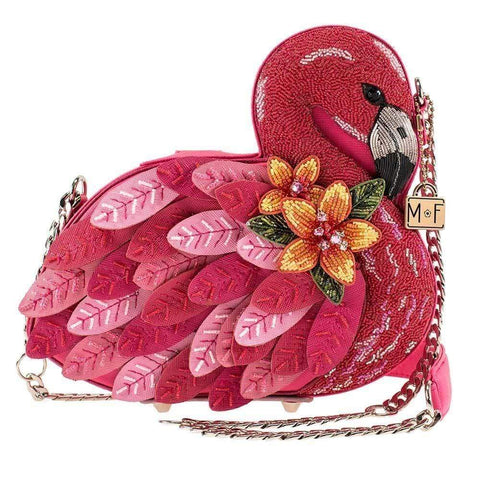 Mary Frances Ruffle My Feathers Flamingo Beaded Handbag