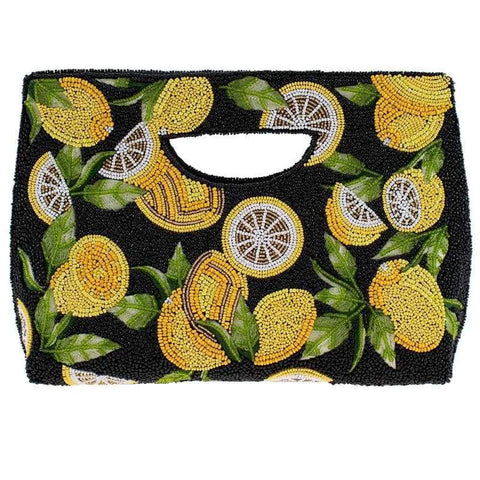 Mary Frances Zesty Beaded Lemons Clutch Handbag