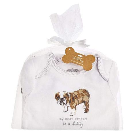 Mud Pie Bulldog Crawler Onesie and Bib Set